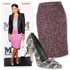 TEXTURED SKIRT, PRINTED PUMPS A pink tweed pencil skirt gets an unexpected upgrade with patterned gam-enhancing heels. Rachel Roy turned heads in a look from her eponymous line. Boucle pencil skirt, $155; houseoffraser.com. Leather pumps, $295; nordstrom.com.