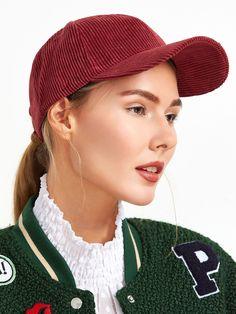 #AdoreWe #SheIn Hats& Gloves - SheIn Burgundy Corduroy Baseball Cap - AdoreWe.com