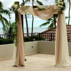 ceremony arbor halekulani wedding hau terrace drape fabric hawaii