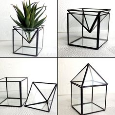 2 in 1 Geometric Glass Terrariums/Candle Holder by LAGlass