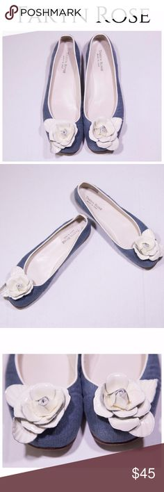 Taryn Rose Denim White Flower Flats 9.5 US Gorgeous white flower detail on a denim flats.  Pre-loved in great condition. Taryn Rose Shoes Flats & Loafers