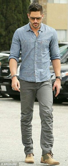 Denim shirt. Gray pants. Casual style