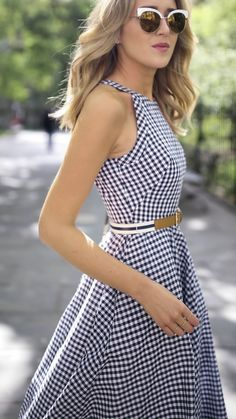 navy and white gingham fit and flare sleeveless midi dress with striped brown belt and cut out back // classic summer style // white cat eye sunglasses // brown suede leather block heel sandals Navy Dress Outfits, Summer Dress Outfits, Skirt Outfits, Casual Outfits, Fit Flare Dress, Fit And Flare, The Dress, Dress Skirt, Nyc Fashion
