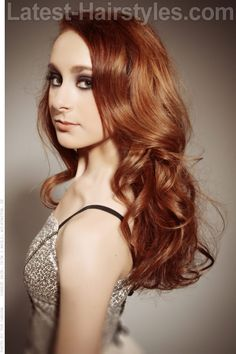 Soft Natural Copper Hair Color with Curls and Volume