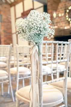 gypsophila-wedding-chair-decorations wedding chairs 27 Sensational Ways to Dress Up Your Wedding Chairs Wedding Chair Decorations, Wedding Chairs, Wedding Centerpieces Cheap, Wedding Chair Covers, Wedding Chair Sashes, Church Decorations, Outdoor Decorations, Decor Wedding, Gypsophila Wedding