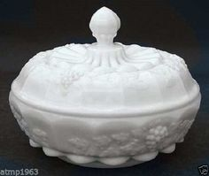 Westmoreland Milk Glass Paneled Grape Chocolate Box with Lid $29.99