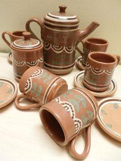 Serviciu ceai, rustic, lucrat manual, retro