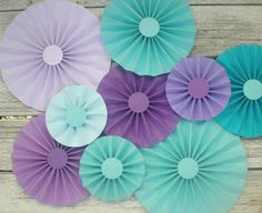 Aqua purple lavender teal paper fans photo backdrop, table backdrop, paper pinwheels, rosettes