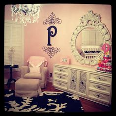 Baby Girl Nursery - would be a cute dress up area in the playroom