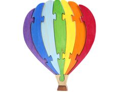 Hot Air Balloon Puzzle Wood Puzzle Rainbow by berkshirebowls, $19.99