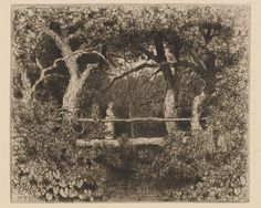 """Mademoiselle M. F. Daniel, """"A Rustic Bridge over a Brook Shaded by Trees"""" (19th century), etching (all images courtesy the New York Public Library unless noted)"""