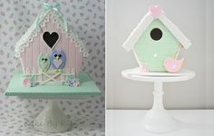 Birdhouse Cakes and Tutorials via Cake Geek Magazine: http://cakegeek.co.uk/index.php/birdhouse-cakes-2/
