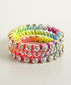 Ettika set of 3 - neon rainbow and gold crystal wrapped bangles | BLUEFLY up to 70% off designer brands