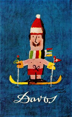 Vintage Travel Poster - Davos - Wintersport - Switzerland - by Herbert Leupin - 1966/67.