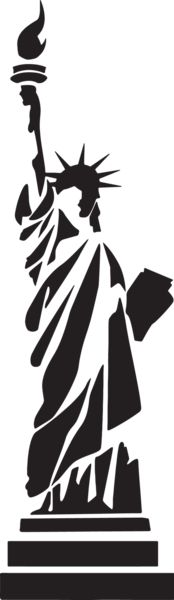 Statue of Liberty stylized - /American_History/famous_places/Statue_of_Liberty/Statue_of_Liberty_stylized. Stencil Patterns, Stencil Art, Stenciling, Inkscape Tutorials, Scroll Saw Patterns, Silhouette Art, Kirigami, Silhouettes, Pyrography