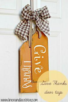 Door Decor Fall-Autumn Give Thanks door tags by lorene Thanksgiving Crafts, Thanksgiving Decorations, Fall Crafts, Holiday Crafts, Fall Decorations, Wood Crafts, Diy Crafts, Fall Door Hangers, Wood Tags