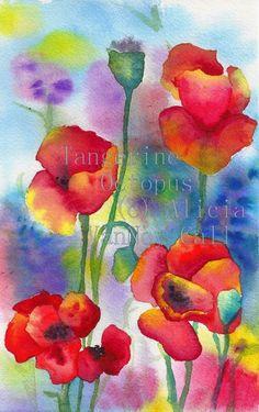 Drucken Aquarell Mohnblumen rot Flowers 8 x 12 von tangerineoctopus