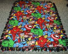 Avengers/Super Heroes Blanket-No Sew Fleece by LisasBounty on Etsy No Sew Fleece Blanket, No Sew Blankets, Make Blanket, Knot Blanket, Superhero Room, Baby Superhero, Teacher Wreaths, Fleece Projects, Baby Boy Themes