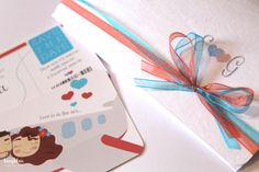 Wedding invitation, Travel theme    DETAILS    Coral and Turquoise    Boarding Pass with illustration  www.laughlau.com