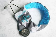 Embroidered RN Stethoscope Cover - Registered Nurse - Dark Gray Chevron with Teal - Made to Order