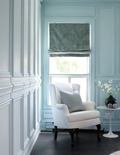 Great wall panels and chair rail. Another example of using white mouldings on a white wall, and still clearly defining the space