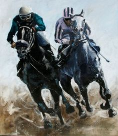 """The Final Sprint"" Race Horse Breeds, Equine Art, Kentucky Derby, Horse Racing, Acrylics, Batman, Collage, Paintings, Horses"