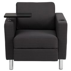 Charcoal Gray Fabric Guest Chair With Tablet Arm, Tall Chrome Legs And Cup  Holder,