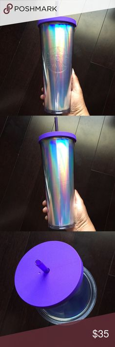 Starbucks Purple Iridescent Cold Cup - 24oz ✨✨✨BNWT✨✨✨  Limited Edition--Starbucks Purple Iridescent Cold Cup Tumbler. The purple lid features a purple reusable straw. You can also customize your Cold Cup with fun acrylic lids and straws which can be purchased separately. Siren logo on front. Holds 24 fl oz of iced coffee or your favorite cold beverage. Handwash ONLY. Do NOT microwave.  Comes from a smoke and pet free home. Thank you for looking and Happy Poshing!! Starbucks Other