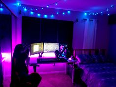 Pretty happy with how my setup is coming along :) Feel free to give me any recommendations aesthetic bedroom Galaxy Bedroom, Neon Bedroom, Gamer Bedroom, Bedroom Setup, Bedroom Lighting, Bedroom Ideas, Gaming Room Setup, Gaming Rooms, Chill Room