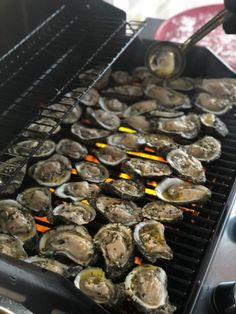From a great restaurant in New Orleans. Can be broiled in the oven but are much better and more dramatic on the grill. Prep time does not include time to shuck the oysters :) Grilling Recipes, Fish Recipes, Seafood Recipes, Cooking Recipes, Chargrilled Oysters Recipe, Broiled Oysters Recipe, Smoked Oysters, Bbq Oysters, Kitchen