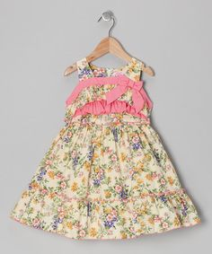 http://www.zulily.com/invite/vhanson979Take a look at this Cream Floral Bow Dress - Toddler & Girls by Donita on #zulily today!