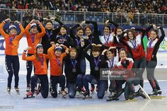 Silver medalists Suzanne Schulting, Yara van Kerkhof, Lara van Ruijven and Rianne de Vries of Netherlands, gold medalists Choi Min-Jeong, Shim Suk-Hee, Noh Do-Hee and Kim Ji-Yoo of South Korea and bronze medalists Marianne St-Gelais, Kasandra Bradette, Valerie Maltais and Kim Boutin of Canada celebrate during the victory ceremony for the Ladies 3000m Relay Finals during the ISU World Cup Short Track 2016 on December 18, 2016 in Gangneung, South Korea.
