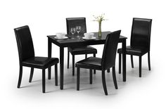 Julian Bowen Hudson Black Dining Set with 4 Faux Leather Chair Leather Dining Chairs, Wooden Dining Tables, Dining Table Chairs, Dining Room Furniture, Rattan Furniture, Dining Rooms, Kitchen Dining, Black Dining Set, Dining Sets
