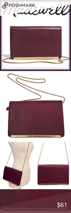 """🎉SALE🎉Madewell The Everyday clutch crossbody bag ➖BRAND: Madewell ➖STYLE: The Everyday Clutch in Deep Cabernet / Burgundy (The color is stunning)  ❗️NOTE: All pictures except the cover are the actual bag ➖Leather sleek framed & unique crossbody bag has a built in mirror, pouch that fits the essentials and a kiss lock closure. Some wear as shown in the pictures (price reflects) but still in beautiful shape! ➖DIMENSIONS: 6.25"""" H x 10"""" W ➖Strap : 19.75""""  ❌NO TRADE 234409 Madewell Bags…"""
