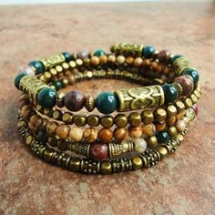 Boho Gypsy Bracelet, Wrap Around Bracelet, Beaded Memory Wire Bracelet, Bloodstone, Jasper, Antique Brass, Green Pink Brown on Etsy, $39.95