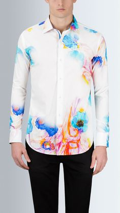 c92d85a2 Shaped Fit Long Sleeve Water Flower Printed Cotton Shirt #Bugatchi  #mensfashion Water Flowers,