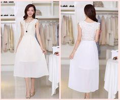 New Summer Dress 2014 Women Lace Chiffon Vestidos Manga Long Pleated Maxi Casual Bohemian Party Dresses Plus Size