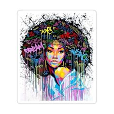 Decorate laptops, Hydro Flasks, cars and more with removable kiss-cut, vinyl decal stickers. Glossy, matte, and transparent options in various sizes. Super durable and water-resistant. Afro hair is the sign of oride and rejection of notions of assimilation and intergration by black people. So girl, own your Afro and wear it like your crown. Framed Wall Art, Wall Canvas, Wall Art Decor, Canvas Art, Canvas Prints, Wall Decorations, African American Girl, African Girl, Pop Art
