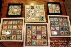 Sampler Class Wall Decor - Robyn Rasset Stampin' Up! 3d Box Frames, Box Frame Art, Paper Frames, 3d Paper Crafts, Paper Art, Paper Crafting, Shadow Frame, Shadow Box, Sewing Cards