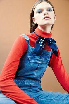 Dungarees, £290,mih-jeans.com. Rollneck, £65, hobbs.co.uk. Bandana, £6, asos.com