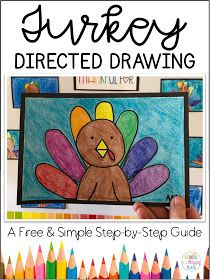 Last Minute Thanksgiving Resources {Including a FREE Directed Drawing} (School Is a Happy Place) Thanksgiving Drawings, Thanksgiving Art, Thanksgiving Preschool, Fourth Grade Thanksgiving Activities, Turkey Kindergarten, Kindergarten Art Projects, Kindergarten Activities, Drawing School, Drawing For Kids