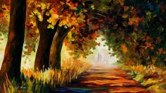 Under The Arch Of Autumn  PALETTE KNIFE by AfremovArtStudio