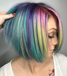 Ideas Hair Color Rainbow Dreams - Most stylish hairstyles Bold Hair Color, Vibrant Hair Colors, Hair Color Highlights, Ombre Hair Color, Purple Hair, Short Rainbow Hair, Pelo Multicolor, Superior Hair, Pulp Riot Hair Color