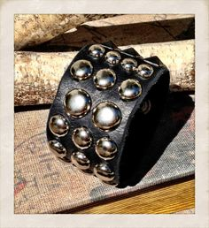 Last few days of 20% off!!!! Use code SUMMERLOVE at checkout!!!   Men's Studded black leather cuff bracelet sliver studded by TornTo, $65.00