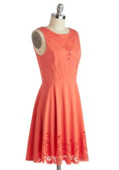 ModCloth-Invitation Designer Dress   The eyelet detailing is awesome, and with coral shade, it's great for a gathering, or even just a stroll in the sun.