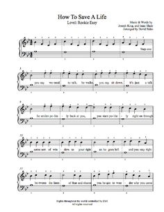 How to Save a Life by The Fray Piano Sheet Music | Rookie Level