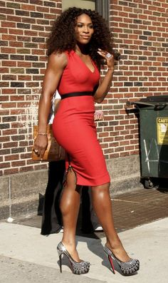 Killin' 'em! Serena Williams is radiant in red at The Late Show With David Letterman in NYC. || Photo credit: WENN