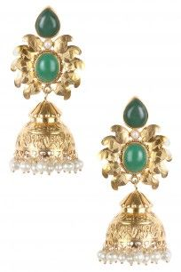 Gold Polish Green Onyx Stone Textured Jhumki Earrings #clothes #tiroshe #designer #shopnow #happyshopping