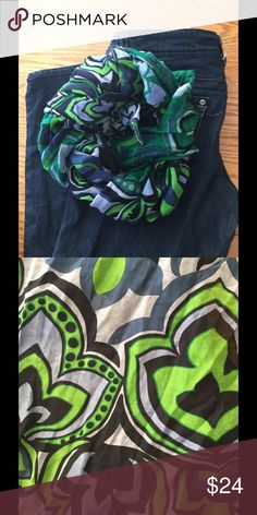 """Colorful, vintage designer silk scarf. Sale! Navy, green print, 24x70"""", wrap or twist, great, soft and sheer. Vintage Accessories Scarves & Wraps"""