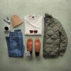 Outfit grid - Green quilted jacket